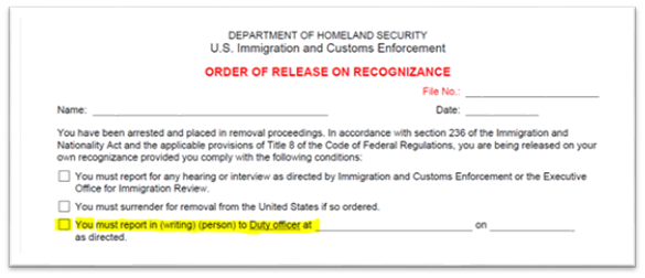 Order of Release on Recognizance