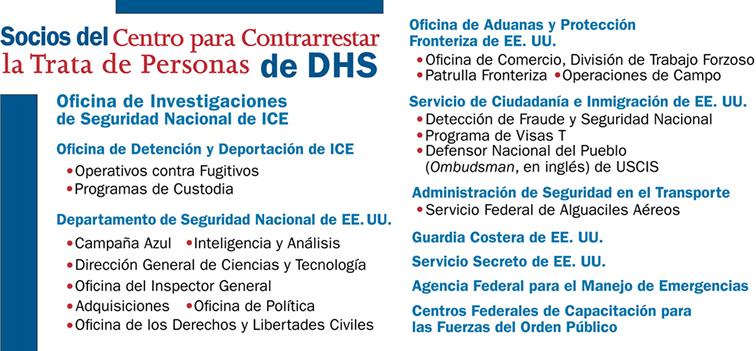 Socios del Centro para Contrarrestar la Trata de Personas de DHS