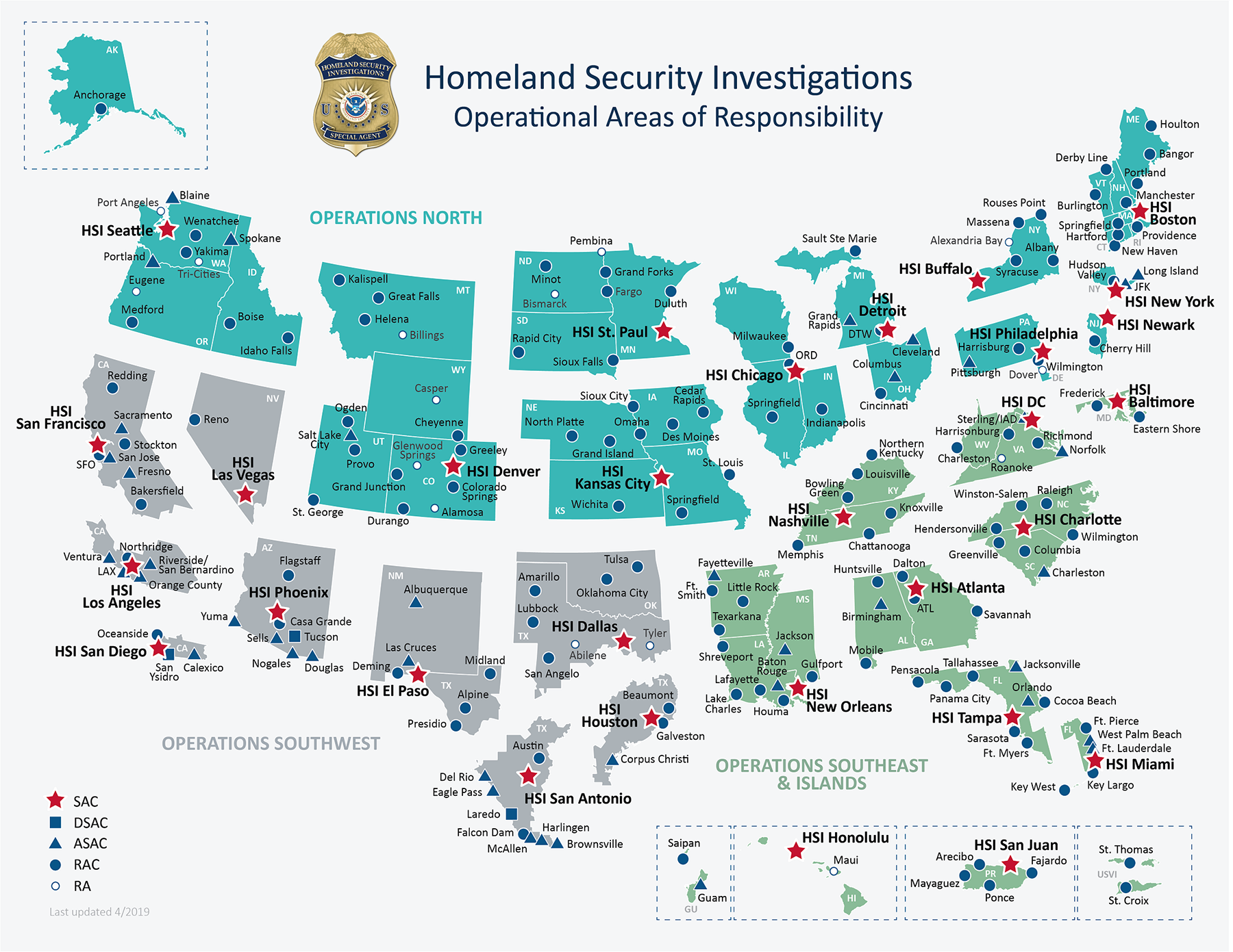 HSI Domestic Footprint map