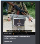 Posts from another Syrian charity similarly explicitly referenced weapons and extremist activities