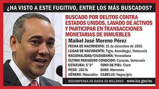 Se ofrece recompensa de $5 millones por información que conduzca al arresto, condena de funcionario venezolano investigado por HSI