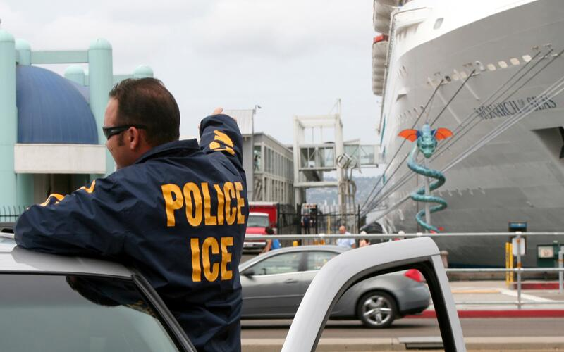 ICE officials conduct operations at a U.S. port of entry.