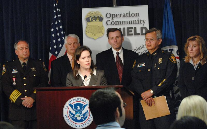 Former ICE Assistant Secretary Julie Myers Wood speaks at Operation Community Shield press conference.