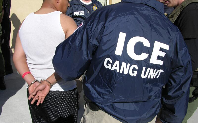 ICE Gang Unit special agents make an arrest.