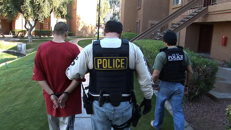 ICE special agents make an arrest during 'Operation Big Freeze' in January 2010.