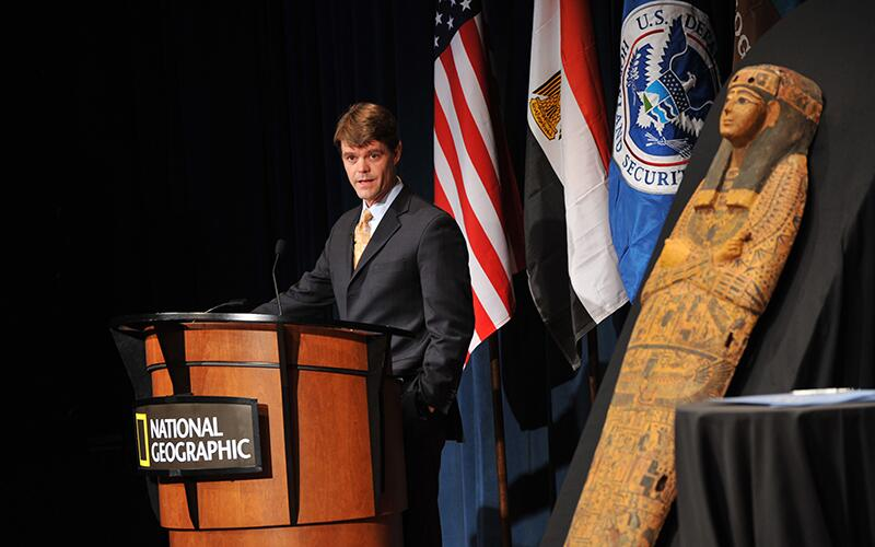 Former ICE Director John Morton speaks at a repatriation ceremony to return a 3,000-year-old sarcophagus to Egypt.