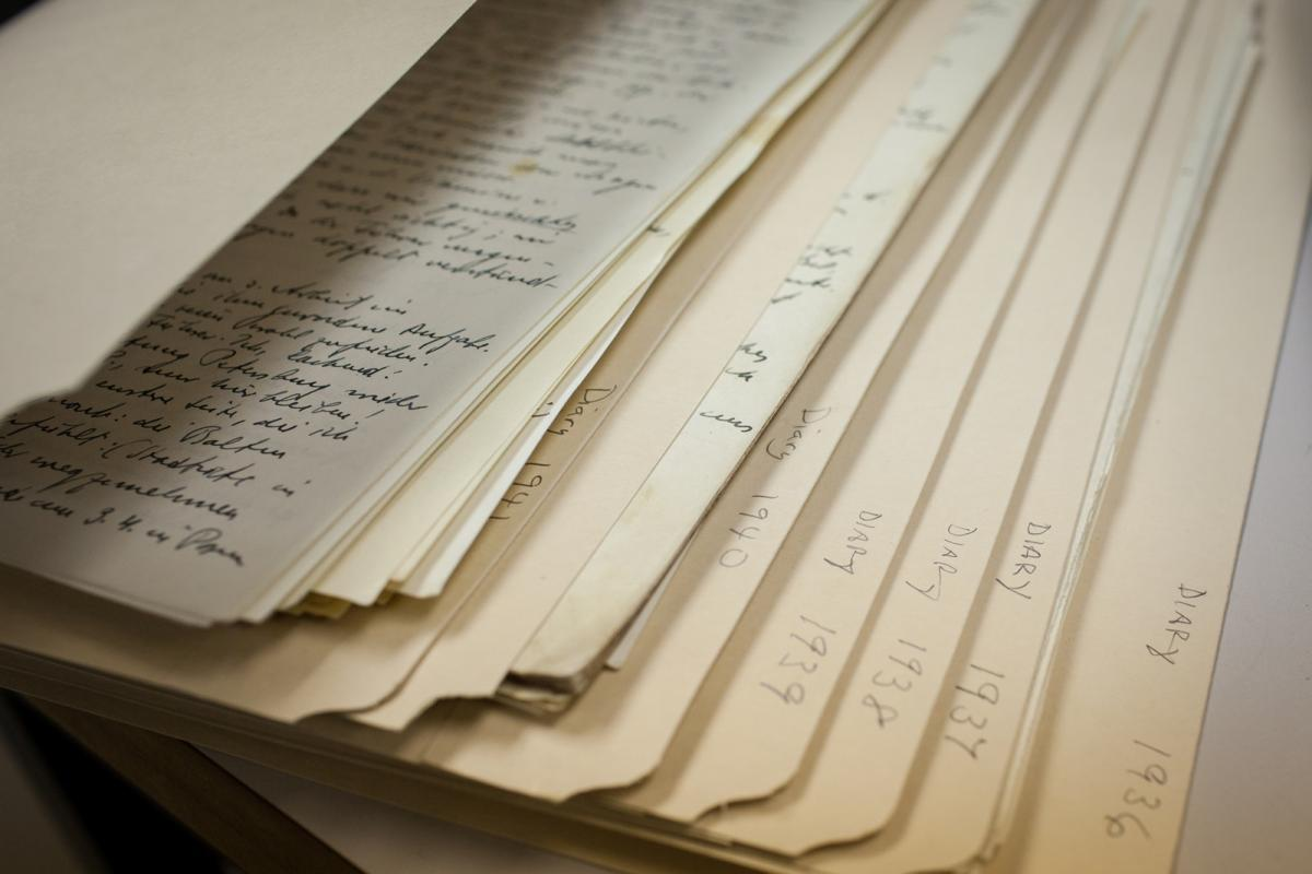 Close-ups of pages of the Rosenberg Diary
