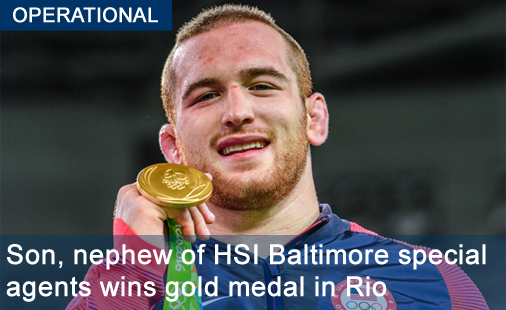 Son, nephew of HSI Baltimore special agents wins gold medal in Rio