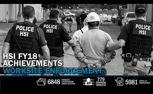 Web Feature: HSI FY18 Achievements - Worksite Enforcement