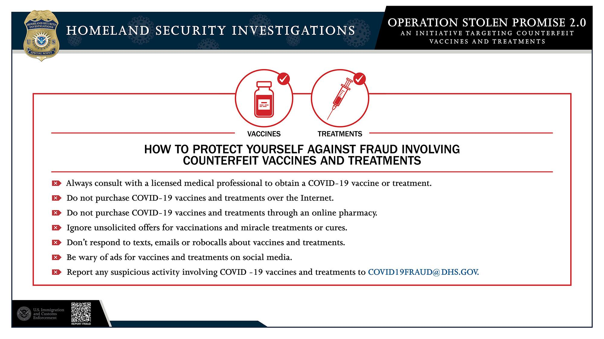 ICE warning on fake COVID-19 vaccines, counterfeit PPE, bogus preventive medical treatments