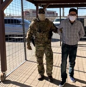 Members of the ERO El Paso Special Response Team escort Juan Jose Bernabe Ramirez, 62, to the U.S.-Mexico international boundary at the Paso del Norte Bridge where he was turned over to the custody of Mexican authorities.