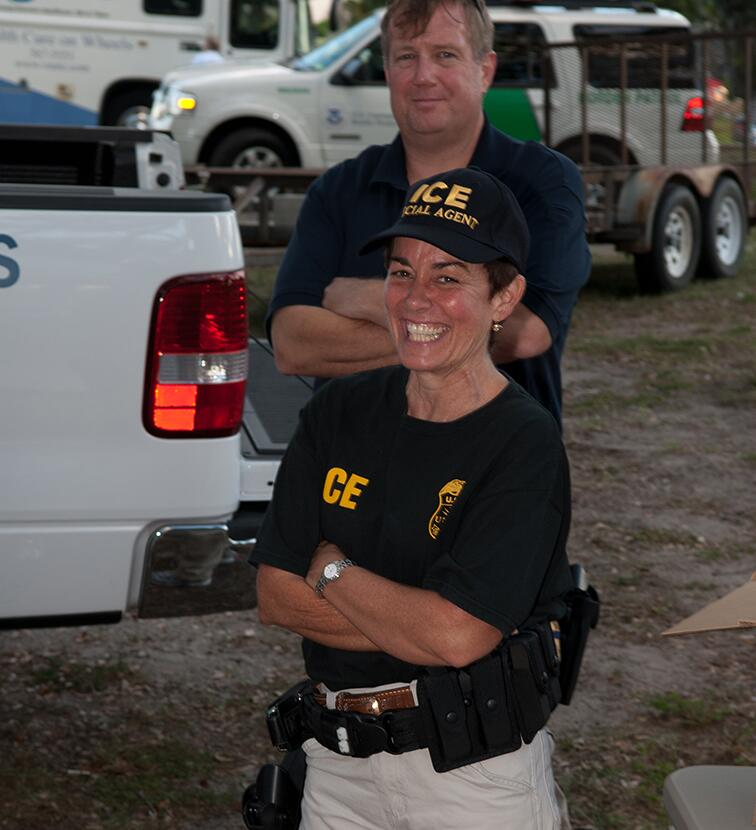 Special Agent Cannon and Agent Van Lindsey on National Night Out in Sebastian, Florida, in 2012.