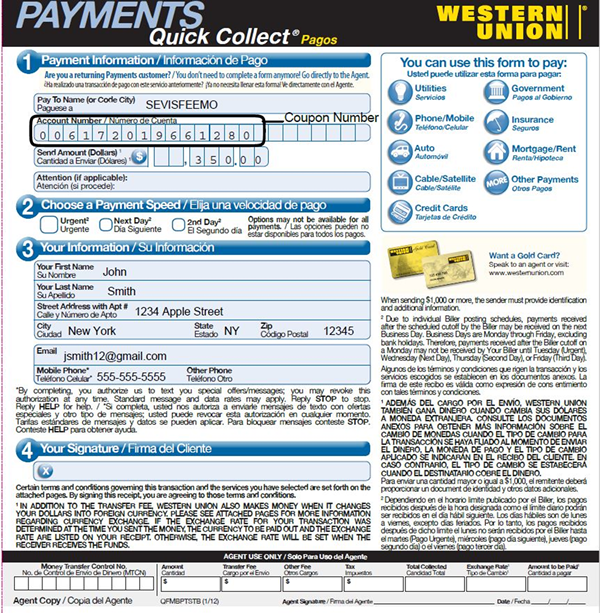 SEVIS I-901 Fee Payment by Western Union Quick Pay