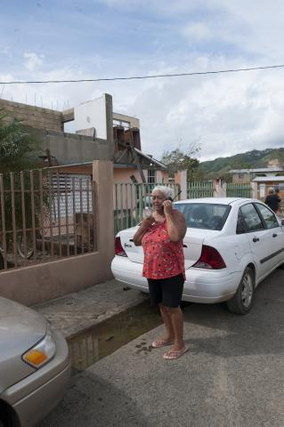 Special agents and technical enforcement officers from the ICE Homeland Security Investigations (HSI) Dallas Rapid Response Team (RRT) conduct welfare checks on residents in Barrio Playa, Añasco.