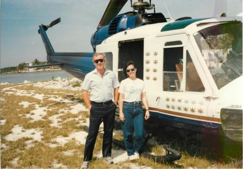 Cannon, and retired U.S. Customs pilot John Ryan, in Islamorada after an emergency landing; one of the blades lost a stabilizer tab. They were taking surveillance pictures of drug and money laundering properties, in 1986.