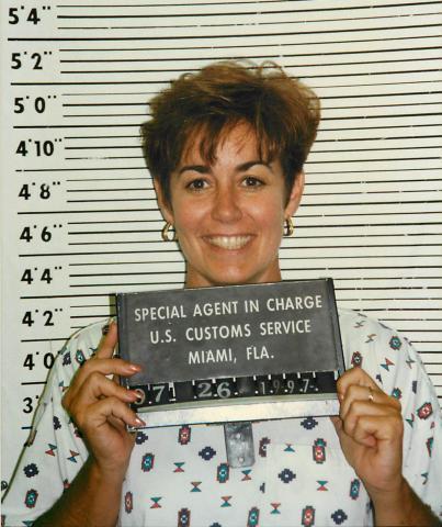 Cannon books herself in the U.S. Customs Miami, Florida, lock-up.