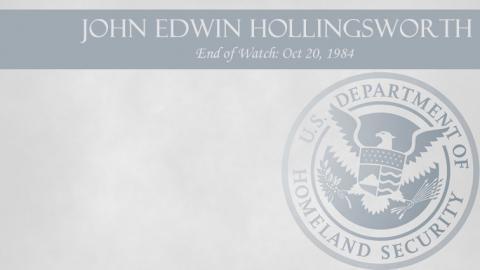 John Edwin Hollingsworth: End of Watch Oct 20, 1984