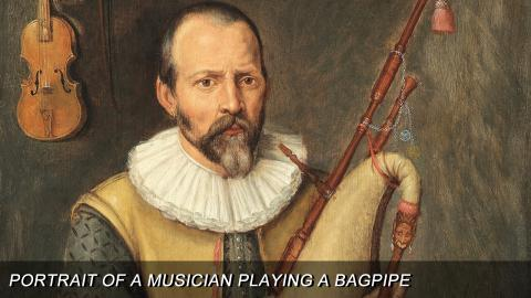 """Portrait of a Musician Playing a Bagpipe"""