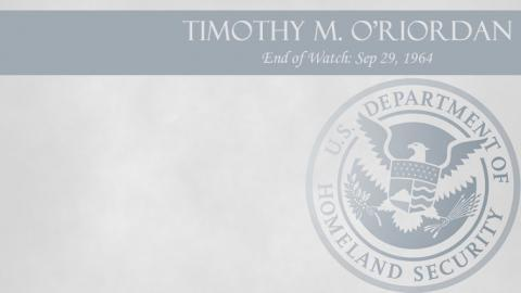 Timothy M. O'Riordan: End of Watch Sep 29, 1964