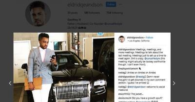 Subject in front of a Bentley from his Instagram account
