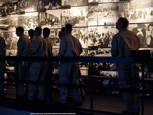 Group touring the U.S. Holocaust Memorial Museum
