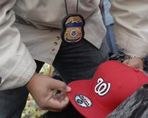 confiscated counterfeit goods from a Washington Nationals game in Washington, D.C.