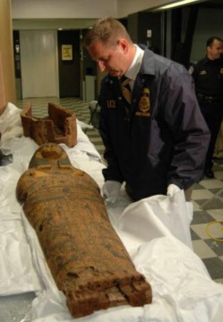 ICE closes case on missing sarcophagus, ancient coffin returned home to Egypt