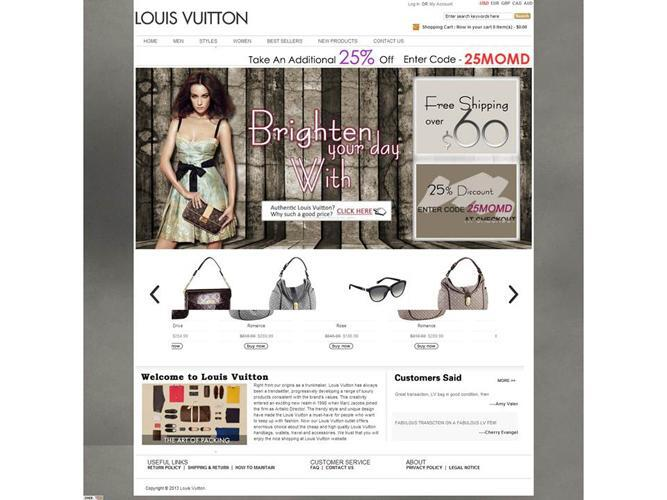 Counterfeit website: fake Louis Vuitton