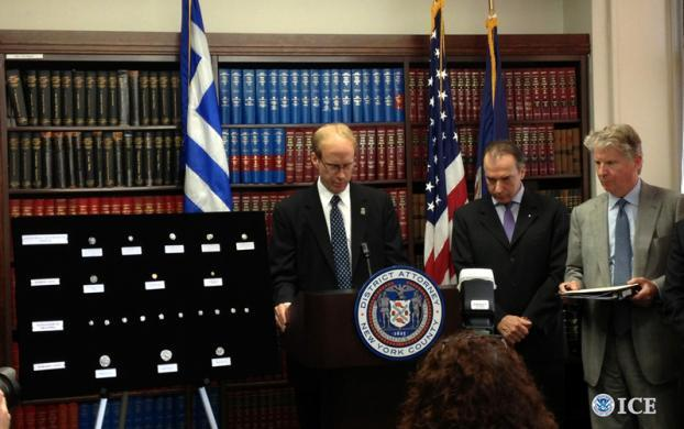 HSI New York Deputy Special Agent in Charge Glenn Sorge speaks at the repatriation ceremony of five antique Ancient Greece coins with Ambassador of Greece to the U.S. Christos Panagopoulos and Manhattan District Attorney Cyrus Vance.