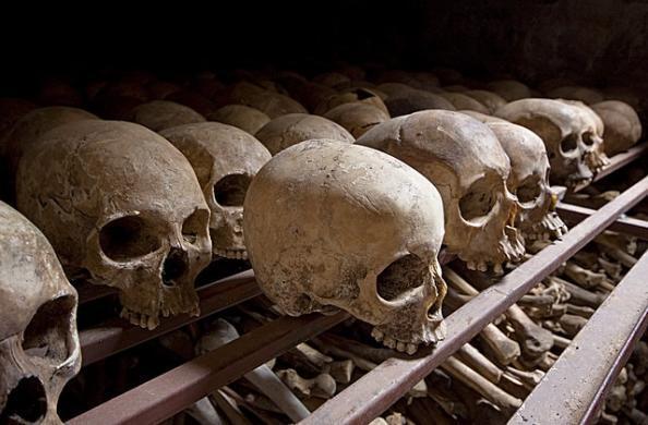 Photos of skulls taken at the Nyamata Genocide Memorial