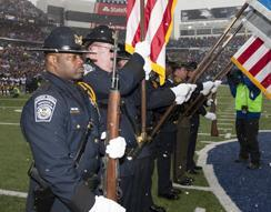 ERO Buffalo Honor Guard presents colors for NFL game in Buffalo
