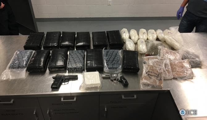 More than 46 pounds of heroin, cocaine and methamphetamine were seized in addition to two firearms.