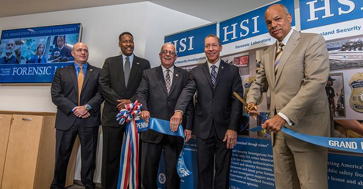 DHS Security Secretary Johnson, ICE Deputy Director Ragsdale, HSI EAD Edge, Virginia Congressman Rep. Connolly