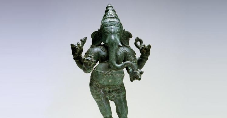 Bronze Sculpture Hindu God Ganesha Removed from a Temple in Tamil Nadu, India