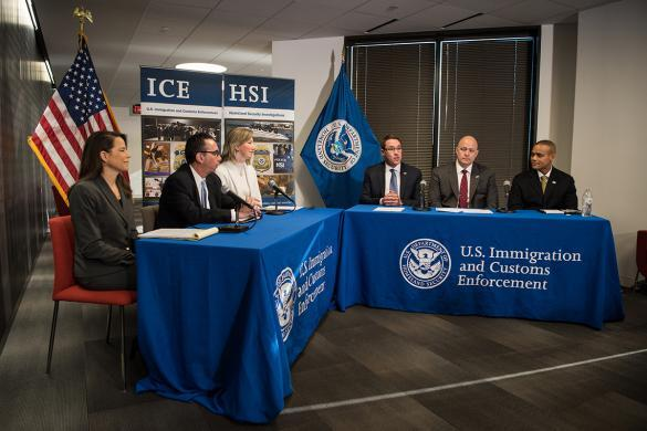 ICE HSI Acting EAD Derek Benner hosts law enforcement officials at a briefing at ICE's Cyber Crimes Center to discuss the enforcement actions that will support the President's Opioid Response Initiative and strategies to support opioid and fentanyl supply reduction efforts.