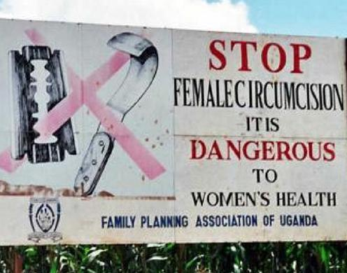 A road sign protesting FGM/C near Kapchorwa, Uganda.
