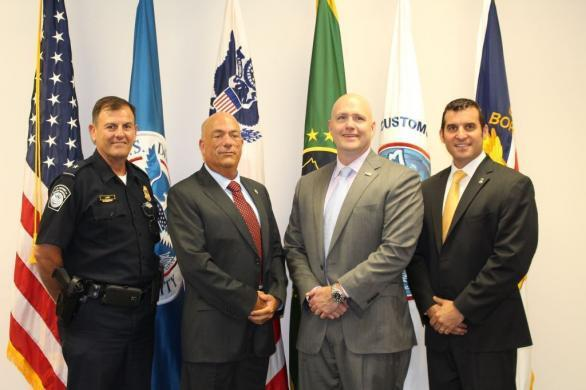 CBP Norfolk Area Port Director Mark J. Laria; CBP Atlanta Director of Field Operations Donald F. Yando; HSI Washington, D.C. Special Agent in Charge Patrick J. Lechleitner; and HSI Norfolk Assistant Special Agent in Charge Michael K. Lamonea
