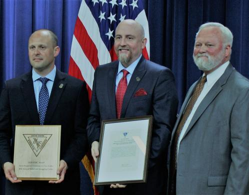 HSI personnel pose with Thomas Padden, U.S. Interdiction Coordinator at Office of National Drug Control Policy (far right) July 19, at the annual U.S. Interdiction Coordinator Award Ceremony.