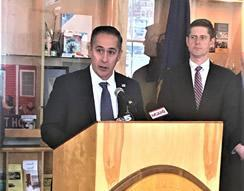 Jason Molina, Acting Special Agent in Charge, HSI Boston (left) details the efforts of HSI in the multiagency enforcement action as Assistant U.S. Attorney for Vermont Jonathan Ophardt (right) listens