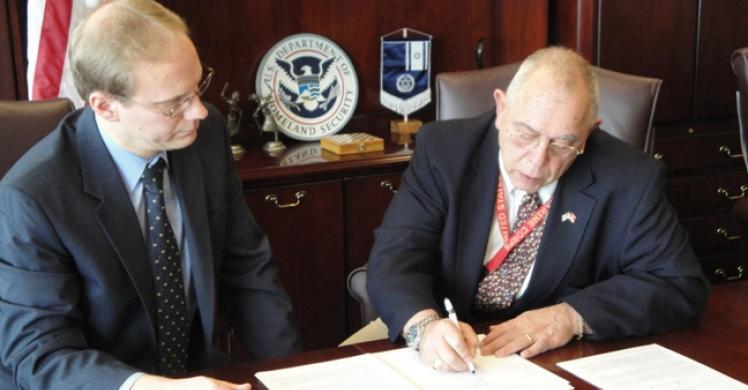 American Defense Systems, Inc., (ADSI) in Hicksville, N.Y., officially became a member of ICE's Mutual Agreement between Government and Employers (IMAGE) at the pictured signing ceremony on Wednesday.