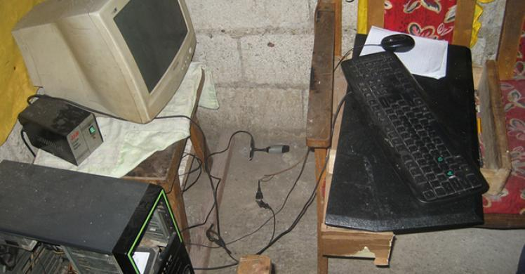 A computer set used by the suspects in their cyber pornographic activity victimizing children.