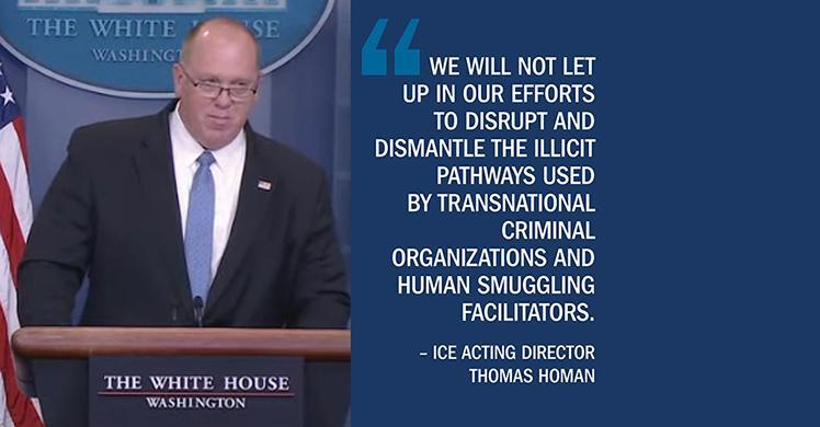Statement from ICE Acting Director Thomas Homan on latest human smuggling incidents in Texas
