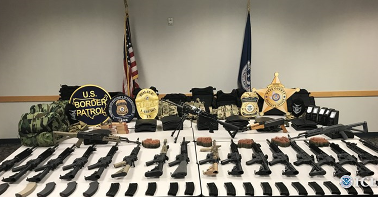 South Texas HIDTA Task Force members seize a cache of assault weapons and armament