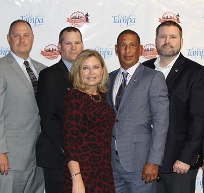 HSI Tampa leadership supported CFA Nathan Cruz at the Viva Tampa Bay Hispanic Heritage Hero Award program. ASAC Hector Colon, DSAC Kevin Sibley, Group Supervisor Tim Westlove, Kim Cruz, CFA Nathan Cruz, ASAC Micah McCombs and SAC James C. Spero