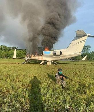 GIII jet scuttled by narco traffickers in Guatemala.
