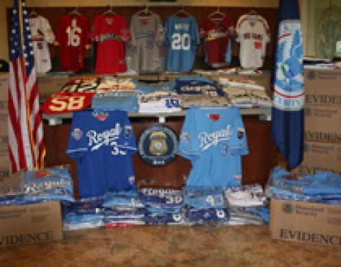 HSI, Kansas City-area law enforcement seize more than $540,000 in fake MLB merchandise