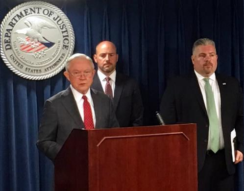 U.S. Attorney General Jeff Sessions, U.S. Attorney for Massachusetts Andrew Lelling and Peter Fitzhugh Special Agent In Charge, HSI Boston, announce results of massive DBFTF operation at U.S. Attorney's Office, Boston, July 26.
