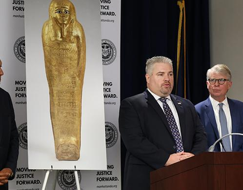 Ancient gold coffin repatriated to Egypt in New York ceremony