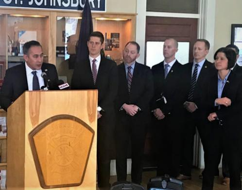Jason Molina, Acting Special Agent in Charge, HSI Boston expresses appreciation for the strong support and coordination in the multiagency enforcement action as local, state, and federal partners listen at the announcement November14.