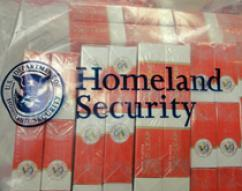 DHS Seal - Evidence Bag containing Counterfeit Cigarettes